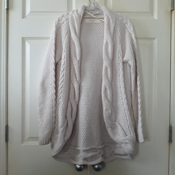 f4aef497 Zara | Cable Knit Cardigan Wool Blend Cream L. M_5c7e6e78df03070e6c8c196f